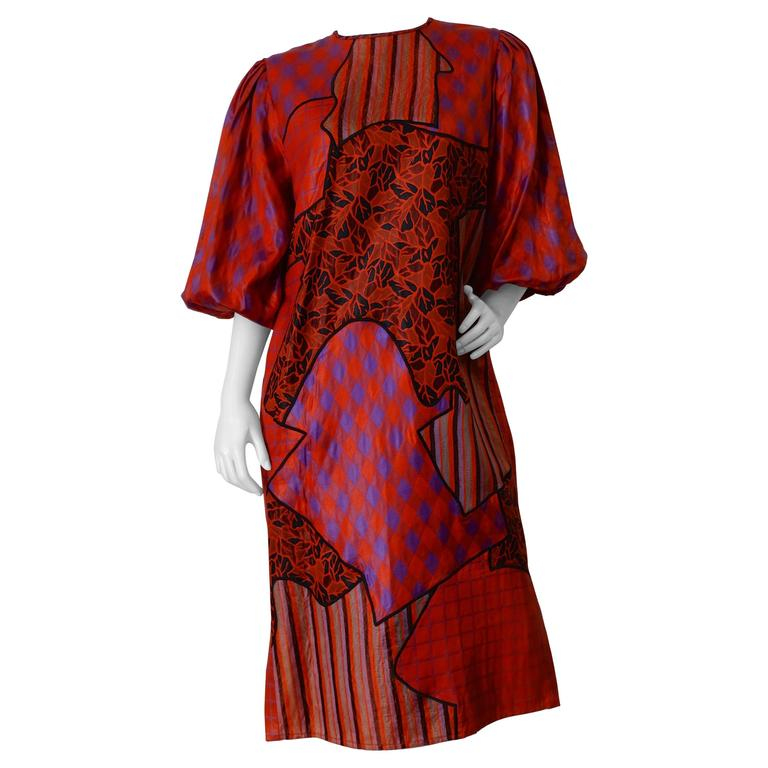 1980s Diane Freis Runway Patchwork Tent Dress