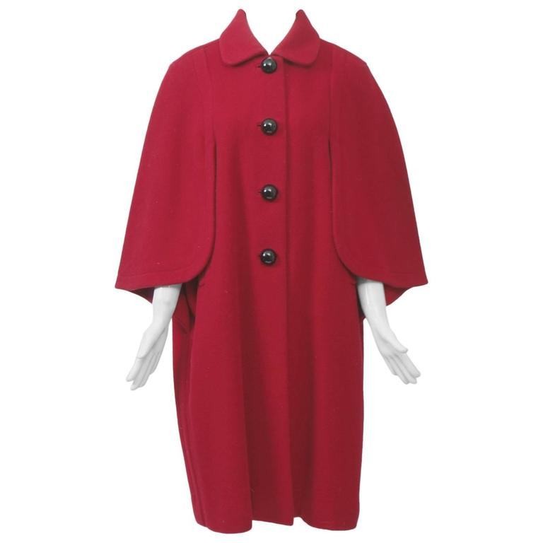 Adolfo Red Cape Coat For Sale