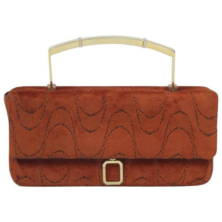 Orange Cut-Velvet Handbag