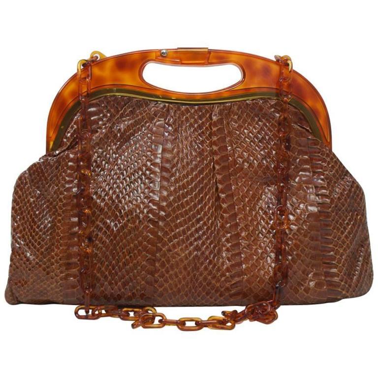 Snakeskin Shoulder Bag with Tortoise Frame