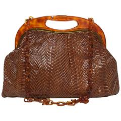 Snakeskin Shoulder Bag with Tortoise Frame