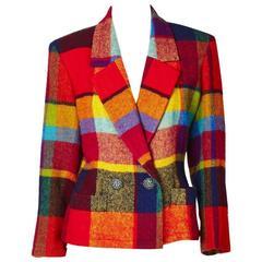 Yves Saint Laurent Bold Plaid Wool Blazer