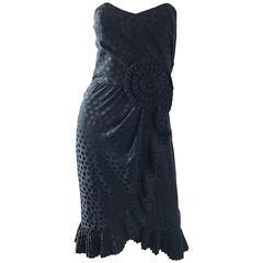 Vintage Albert Nipon 1980s Black Polka Dot Origami Strapless Silk Dress Sz 4 / 6