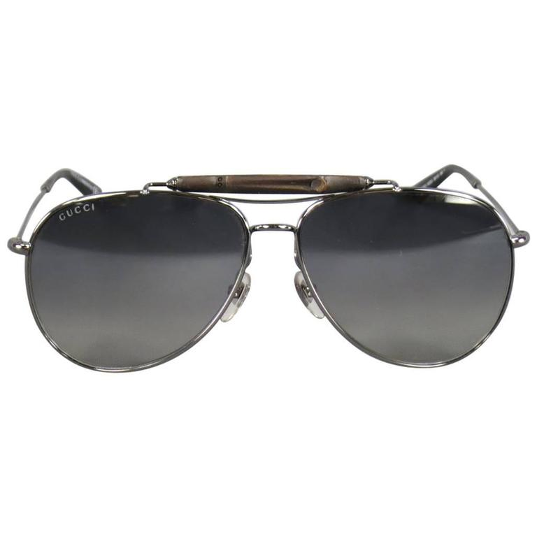 7b77076945e8 GUCCI Silver Tone Metal Bamboo Top Aviator Sunglasses at 1stdibs