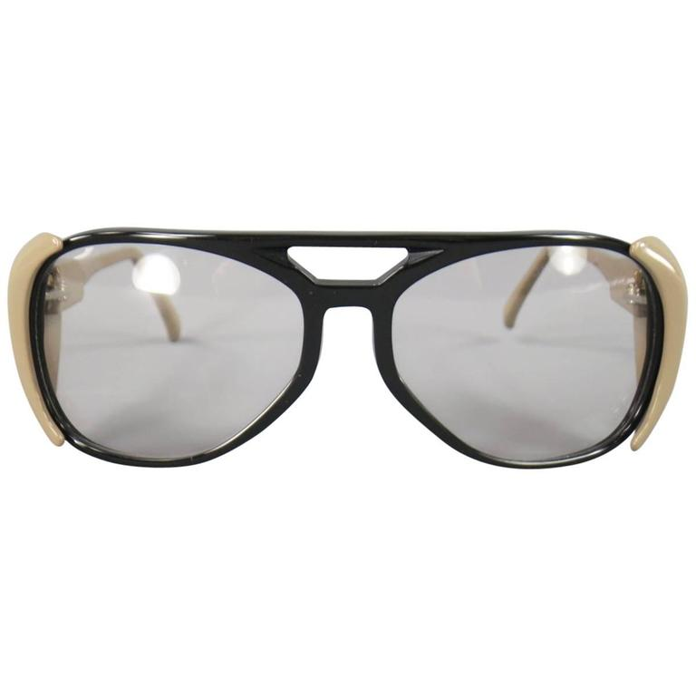 64b4048955 MARNI Black and Taupe Acetate Safetly Aviator Sunglasses at 1stdibs