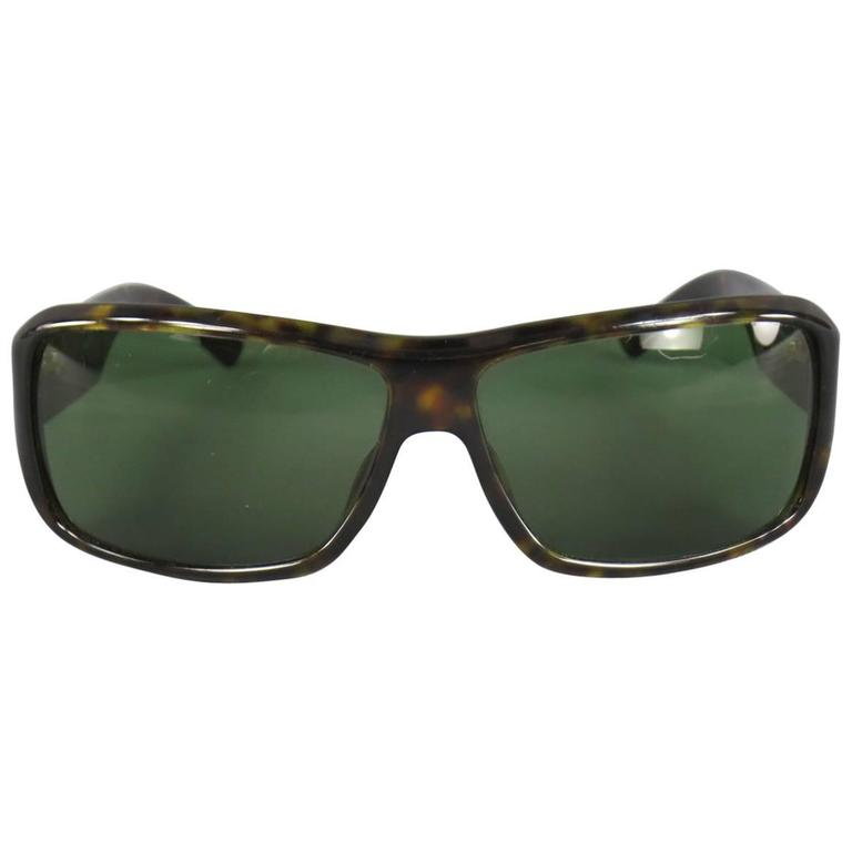 Vintage GUCCI Brown Tortoise Shell Acetate Retro Logo Sunglasses For Sale