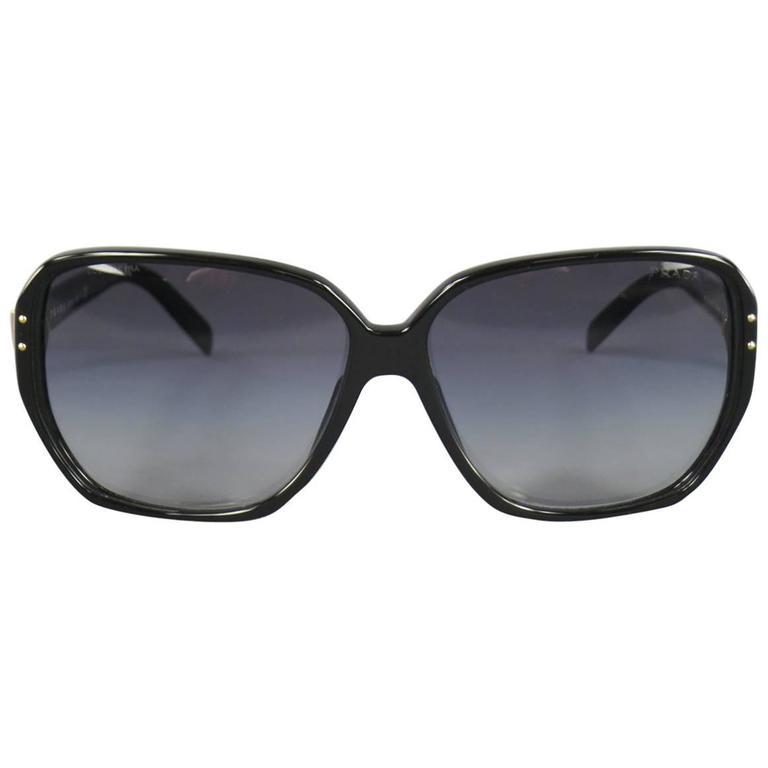 PRADA Black Acetate Oversized Square Frame Sunglasses For Sale at ...
