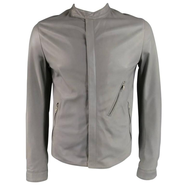 Men's DOLCE & GABBANA 38 Light Gray Leather Hidden Placket Moto Jacket