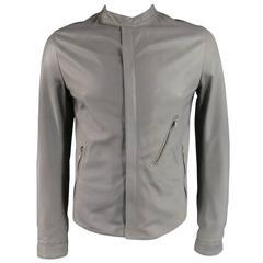 Men's DOLCE & GABBANA 38 Light Gray Leather Hidden Placket Moto Jacket