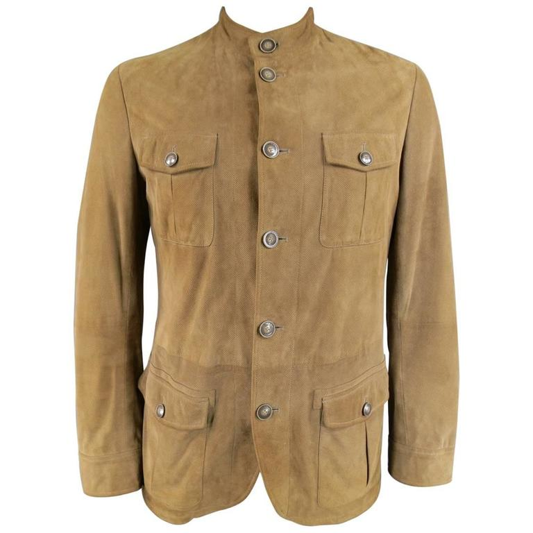 bba60721c08a Men's ARMANI COLLEZIONI 40 Tan Perforated Suede Military Jacket For Sale