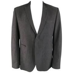 CoSTUME NATIONAL 44 Black Floral Brocade Wool Peak Lapel Sport Coat Jacket