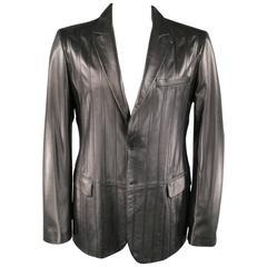 Men's VERSUS by VERSACE 44 Black Stripe Leather Sport Coat Jacket