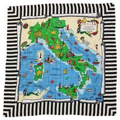 Moschino 1990s Italia Map of Italy Souvenir Style Silk Scarf