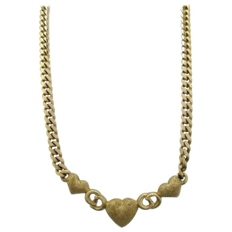 Vintage Christian Dior logo and heart motif, golden chain statement necklace. 1