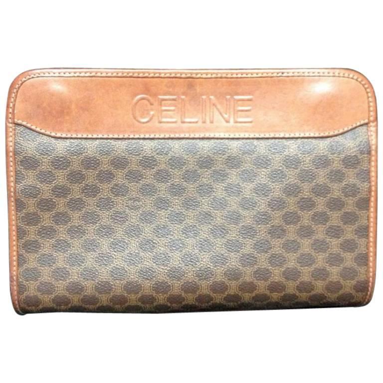 Vintage CELINE brown macadam blason pattern cosmetic, toiletry purse. Clutch bag