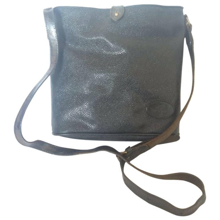 Vintage Mulberry hobo bucket black scotchgrain hobo shoulder bag。