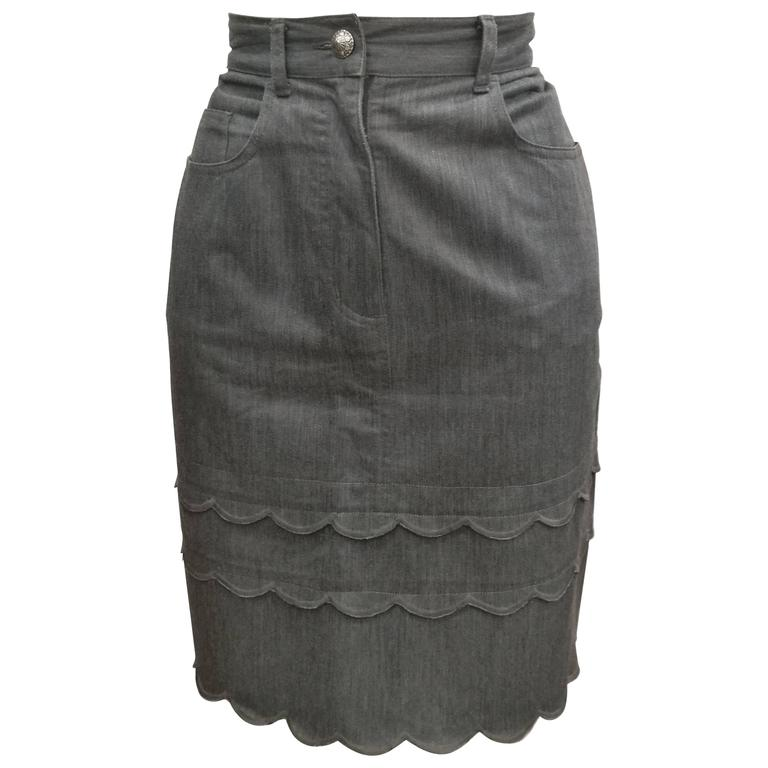 Moschino Jeans Grey Cotton Skirt