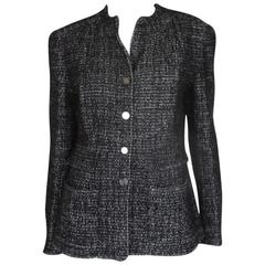 chanel 02 black and white wool blend tweed blazer