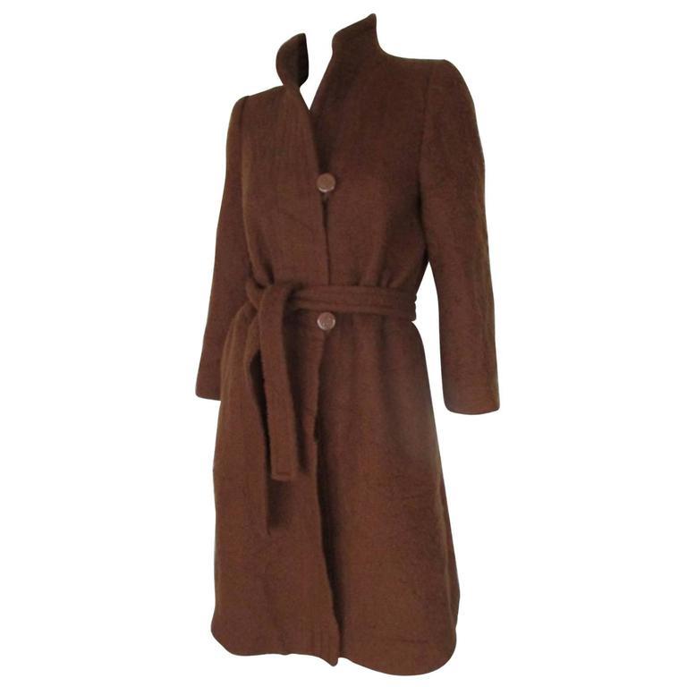 pierre balmain brown belted wool coat