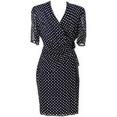 Gianfranco Ferrè 1980s vintage polka dot dress pois woman blue silk size 44