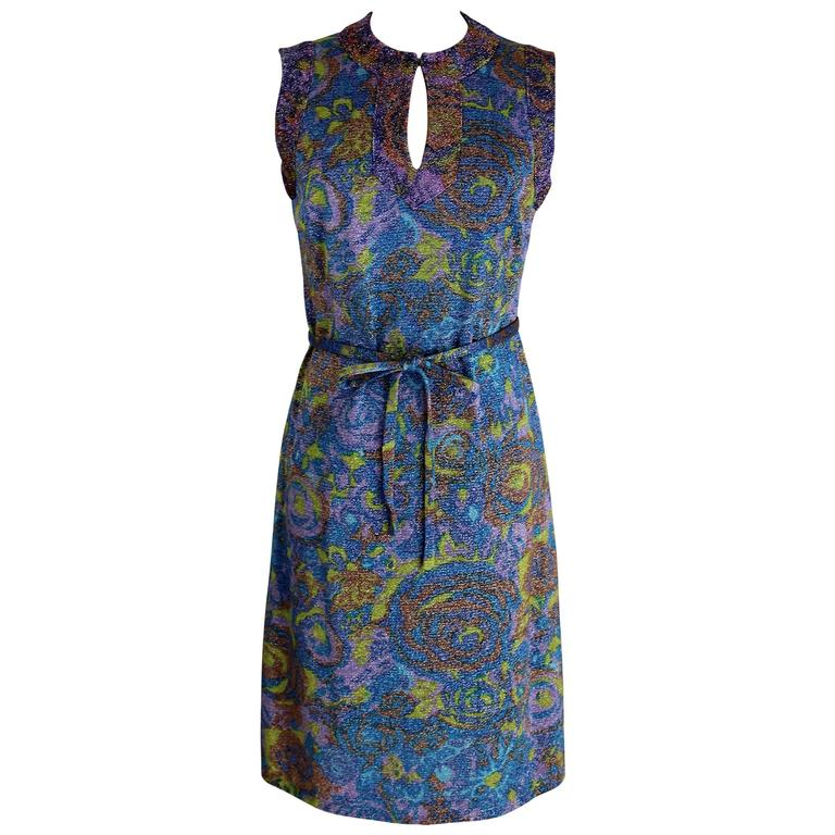 Sorelle Fontana gleaming metallic floral blue wool sleeveless dress, 1960s