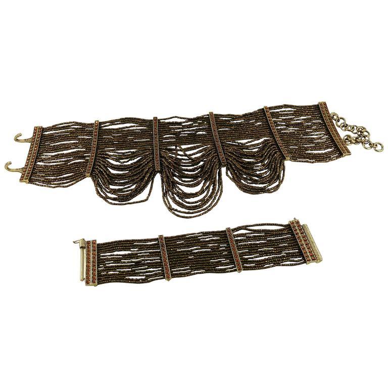 Christian Dior Multi Strand Choker and Bracelet Set 1