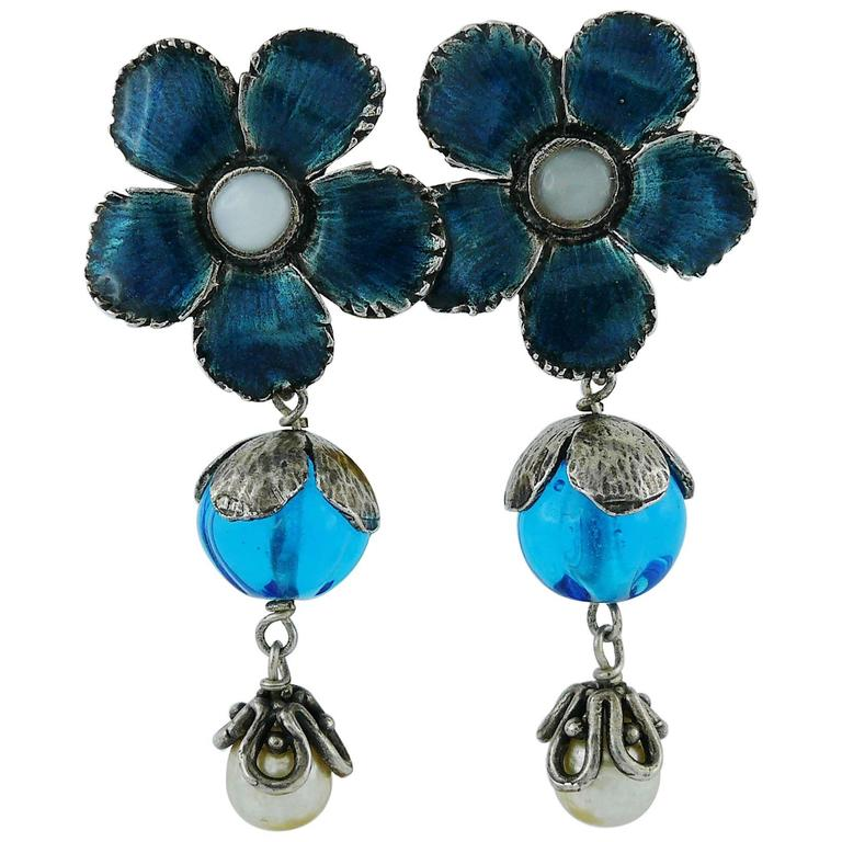 Yves Saint Laurent Vintage Enameled Flower Dangling Earrings For Sale