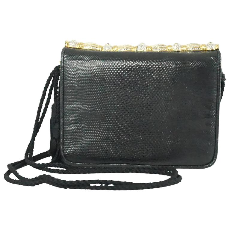 Judith Leiber Black Lizard Crossbody and Clutch with Rhinestone Top
