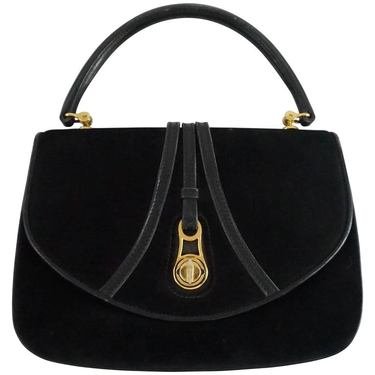 9d64a3e3f1c997 Gucci Vintage Black Suede Top Handle Bag with Leather - 1950's - GHW For  Sale at 1stdibs
