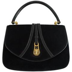 Gucci Vintage Black Suede Top Handle Bag with Leather - 1950's - GHW