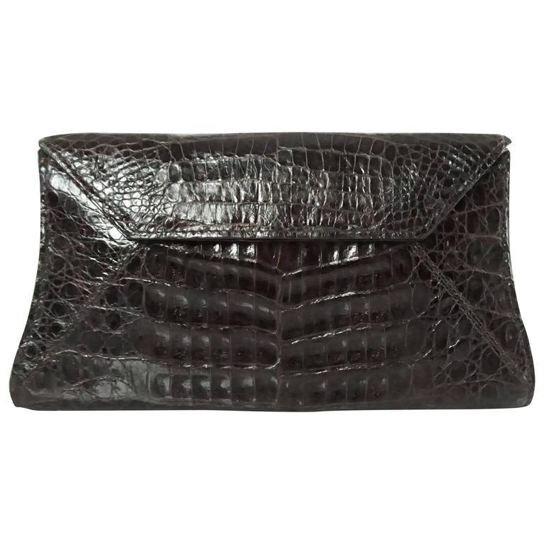 Nancy Gonzalez Chocolate Brown Crocodile Clutch and Shoulder Bag