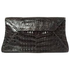 Nancy Gonzalez Chocolate Brown Crocodile Clutch and Shoulder Bag