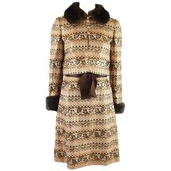 Adele Simpson Orange and Bronze Brocade Dress with Jacket and Mink Trim - M