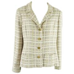 Chanel Beige and White Tweed Jacket - 40 - 01P