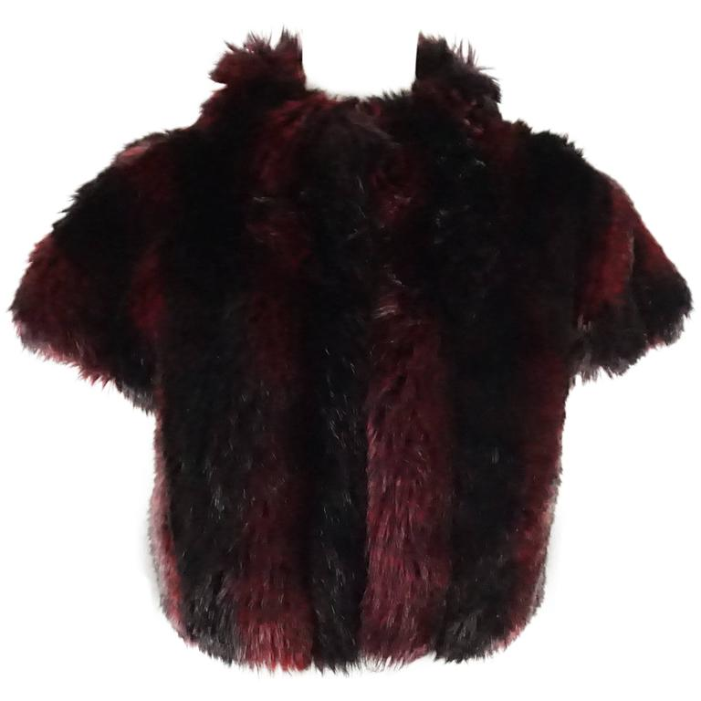 St John Couture Red and Black Faux Fur Cropped Vest - 8 - NWT