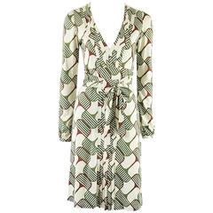 Gucci Ivory and Green Print Silk Knit Dress - Small