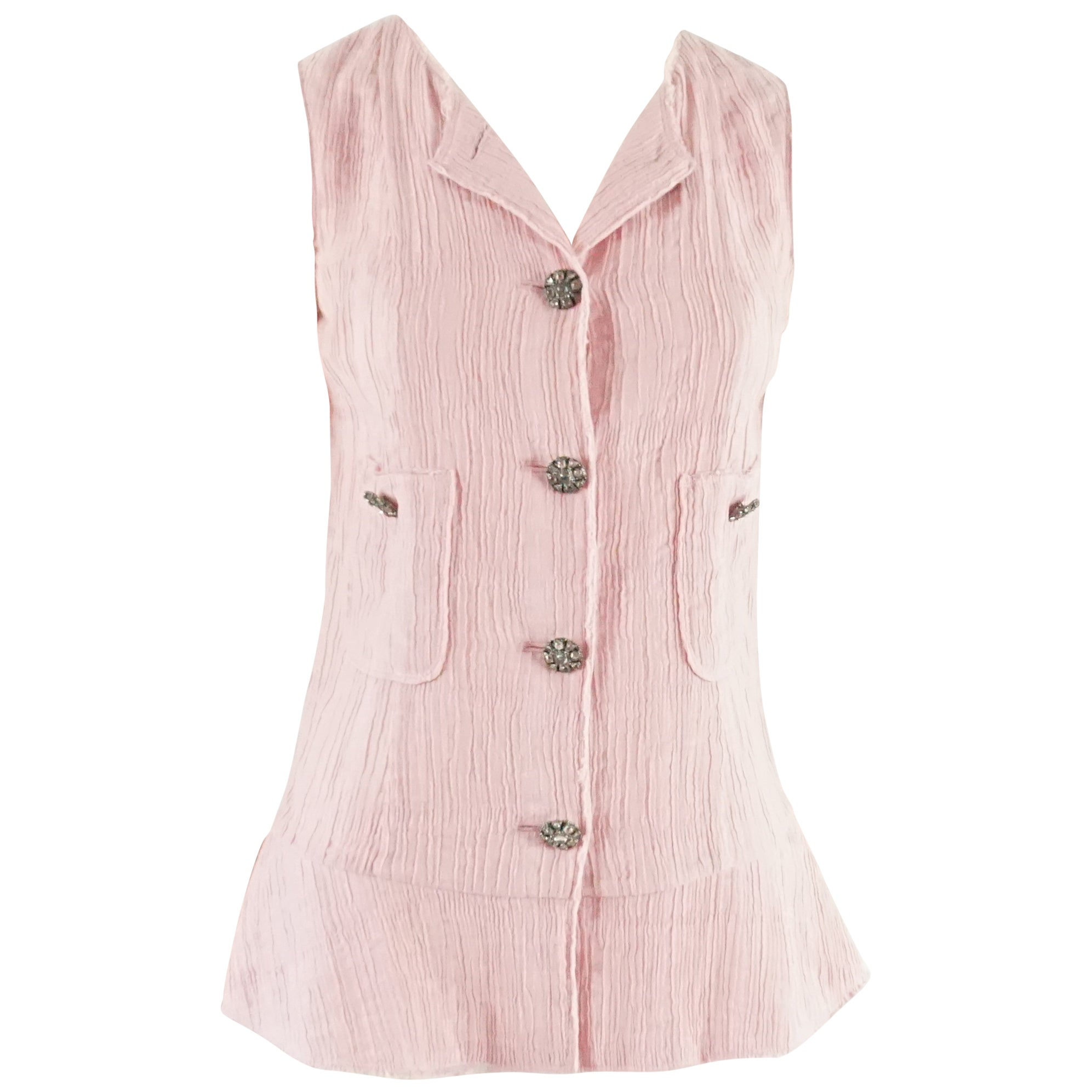 Chanel Pink Cotton Blend Top with Pink & White Gripoix Buttons - 34