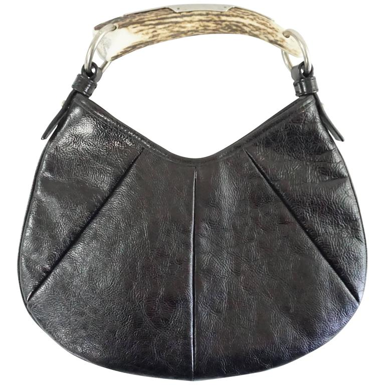 Saint Laurent Tom Ford For Ysl Black Velvet Mombasa Bag With Rhinestone Handle 2b4GUCXCn