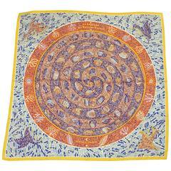 "Hermes Multi ""La Legende du Poisson Corail"" Mosaic Scarf by Christine Henry"
