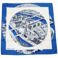 "Hermes Blue and White Silk ""Regarde Paris"" City Print Scarf"