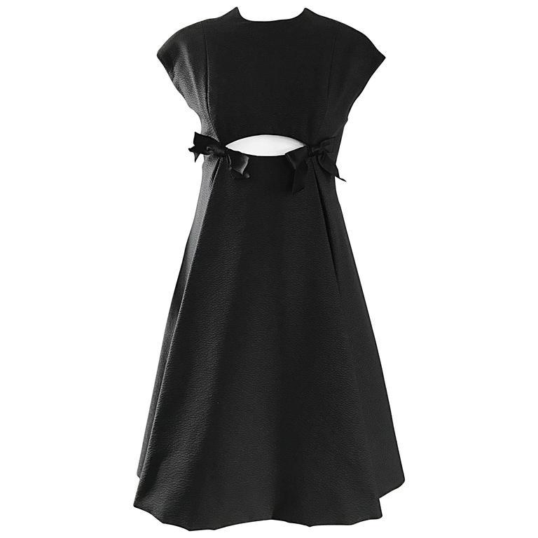Geoffrey Beene 1960s Rare Black Silk Cut - Out Space Age A - Line Vintage Dress