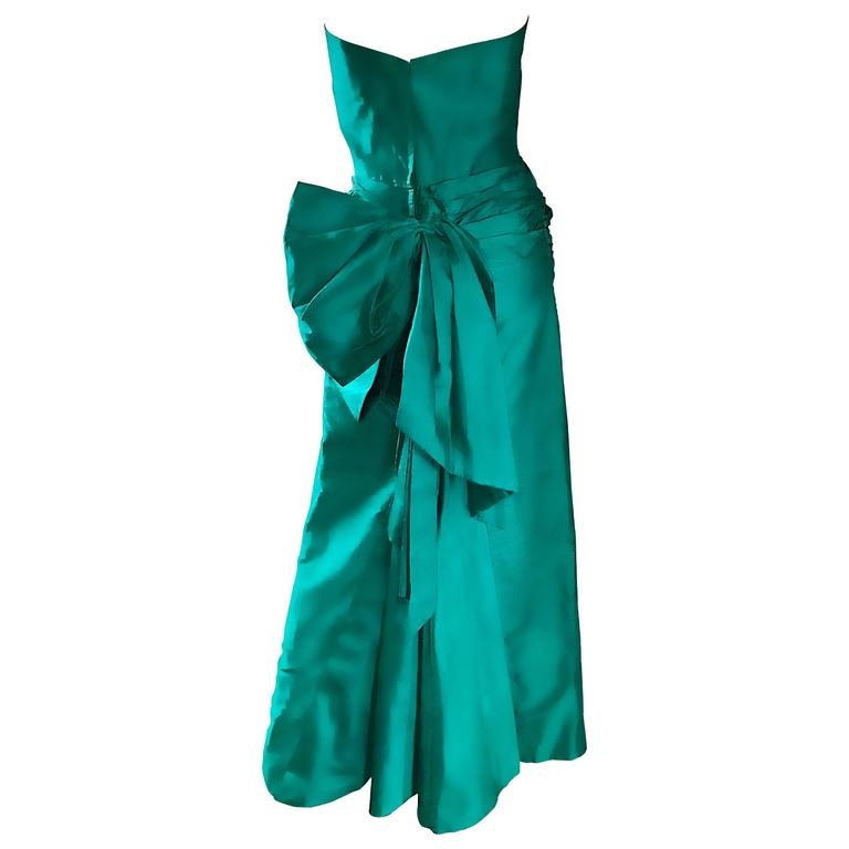 1950s Emerald Green Silk Shantung Strapless Vintage 50s Shell Gown Sz Medium For