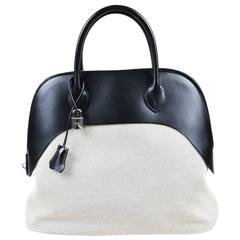 "Hermes Black & White Vache Leather Natural Toile Canvas ""Bolide Paddock"" Satchel"