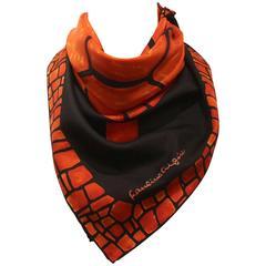 Vintage1960s Pauline Trigere Red and Black Turtle Motif Silk Scarf