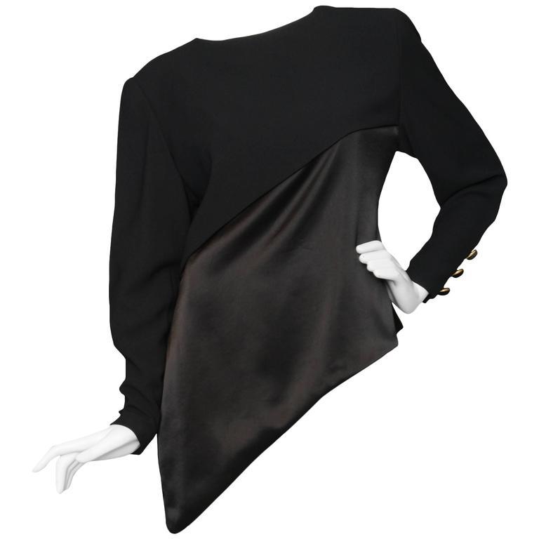 A Black Pierre Balmain Asymmetric Blouse