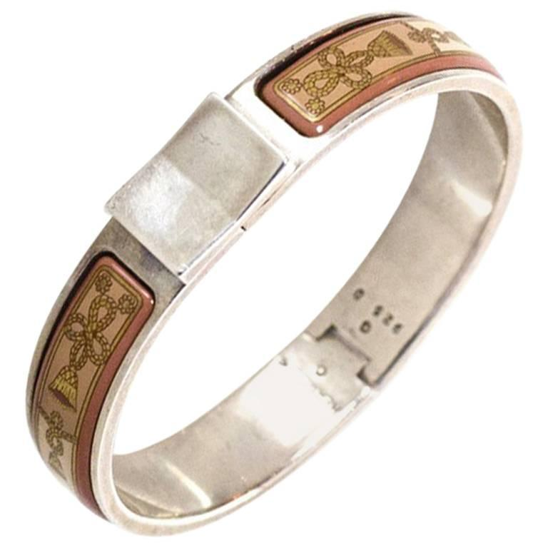 281a670d036 Hermes Pink Tassel Print Enamel & Sterling Narrow Loquet Clic Clac Bracelet  For Sale