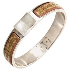 Hermes Pink Tassel Print Enamel & Sterling Narrow Loquet Clic Clac Bracelet