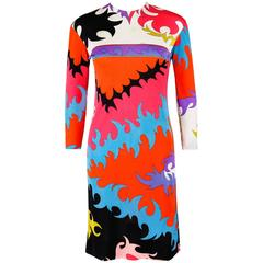 EMILIO PUCCI c.1960's Multicolor Abstract Signature Print Silk Shift Dress