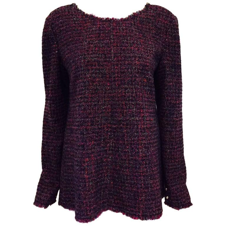 Chanel Aubergine Raspberry and Mint Multi Color Tweed Swing Top