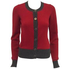 Chanel Red Cashmere Cardigan With Heather Grey Trim Fall 2008
